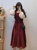 秋季裙子女2020新款中長款收腰復古設計感氣質紅色方領長袖連身裙
