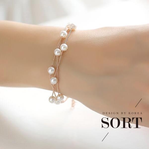 「預購」手環 手鍊 韓版時尚多層珍珠手鍊【1DDB0150】