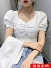 短版上衣 方領白色短袖t恤女ins潮2021夏季新款緊身高腰泡泡袖短款露臍上衣 薇薇