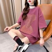 中長款T恤100%純棉2021夏季韓版胖mm大碼短袖T恤女MB033-B 韓依紡