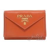 茱麗葉精品【全新現貨】 PRADA 1MH021 浮雕LOGO水波紋三折扣式短夾.橘色