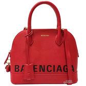 【Balenciaga 巴黎世家】518873 經典Balenciaga 印字手提/斜背兩用包(紅色)