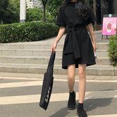 黑色系帶高腰連身裙學生小黑裙短裙