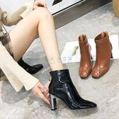 踝靴 18爆款推粗跟短靴女韓版簡約女鞋809-6【大量現貨】 俏女孩