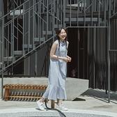 Queen Shop【01085501】配色條紋下魚尾造型無袖棉麻洋裝*現+預*