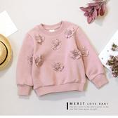純棉 甜美針織花朵保暖上衣 內刷毛 不倒絨 保暖 女童上衣 長袖 粉色 哎北比童裝