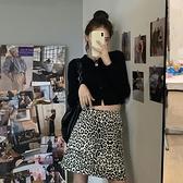 2020夏季新款a字裙高腰豹紋短裙半身裙女ins風包臀裙bm風超a裙子 滿天星