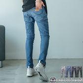 韓版彈力貼身牛仔褲【HK4218】OBIYUAN 皮標設計素面單寧長褲 共4色