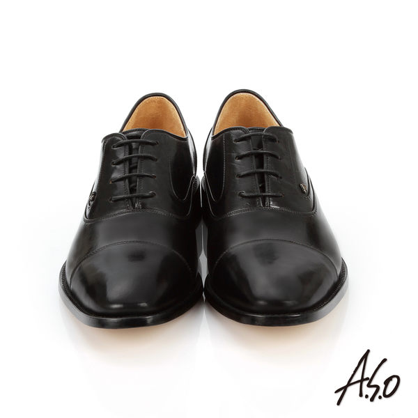 A.S.O 尊榮青紳 牛皮綁帶紳士皮鞋  黑