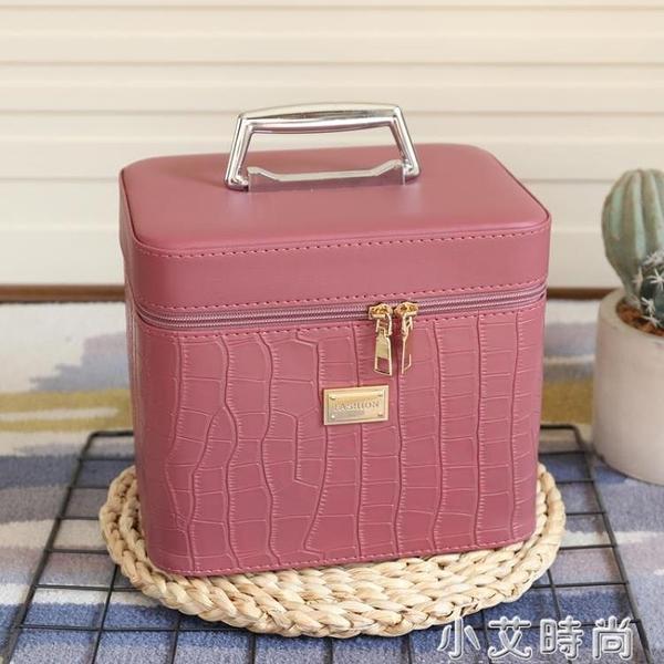 化妝包新款純色大容量多功能手提化妝箱便攜專業化妝品簡約收納盒 小艾新品