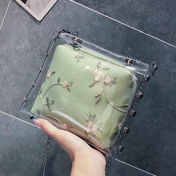 春夏透明果凍小包包新款潮韓版蕾絲水桶包少女氣質斜挎鏈條包