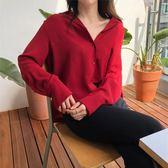 秋裝新款韓版酒紅色長袖襯衣女翻領寬鬆百搭氣質襯衫簡約打底上衣