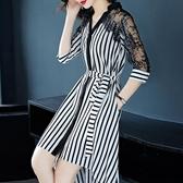 洋裝 蕾絲連身裙拼接寬鬆不規則中長款條紋裙子 降價兩天