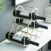 簡約北歐家居新品酒架擺件創意奢華葡萄酒架家用酒櫃樣板間裝飾品WY【限時八五折】