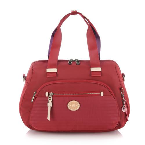 BESIDE-U 橫紋手提/肩背包.季紅色 BKS034F162A5D
