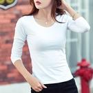 88柑仔店---白色韓版純棉圓領T恤女長袖秋冬純色女裝打底衫修身女士上衣體恤   (A0538)