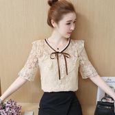 蕾絲上衣新款女裝夏短袖韓版荷葉邊鉤花遮肚蕾絲衫女超仙甜美雪紡上衣 秘密盒子