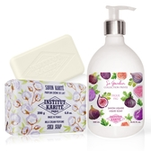 IKP巴黎乳油木 無花果花園香氛液體皂(500ml)+牛奶乳霜手工皂(200g)