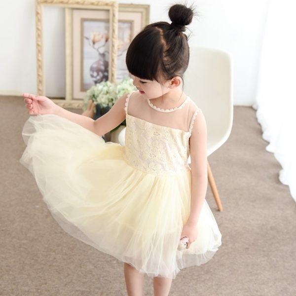 韓版《簍空蕾絲紗裙》夢幻紗裙~氣質短袖洋裝