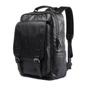 時尚潮流雙肩包男皮質商務簡約背包中學生書包個性旅行電腦包男包