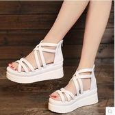 夏季新款學生鬆糕女鞋厚底中跟平底女涼鞋高跟露趾休閒羅馬鞋『韓女王』