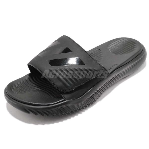 adidas 運動拖鞋 Alphabounce Slide 黑 全黑 舒適 回彈中底 涼拖鞋 三條線 男款【PUMP306】 B41720
