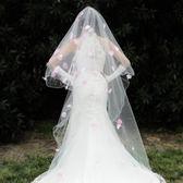 拖尾韓式頭紗頭飾新款粉色花瓣