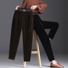 燈芯絨褲女 燈芯絨哈倫褲女寬鬆秋冬2020新款高腰顯瘦直筒褲加絨加厚條絨長褲
