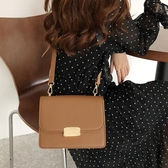 2020韓國秋冬新款復古純色鎖扣單肩小方包女包時尚簡約百搭斜挎包‧衣雅