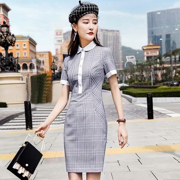 氣質娃娃領配色修身OL連身裙洋裝[8X212-PF] 美之札