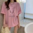 中大尺碼T恤寬鬆上衣5887拉架棉胖MM大碼中長款壓凸短袖T恤女NE416依佳衣