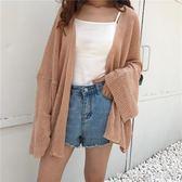 夏裝韓版中長款寬鬆薄款針織防曬衣闊袖微透外套空調衫開衫上衣女 莫妮卡小屋