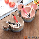 兒童碗寶寶家用吃飯輔食碗防摔防燙碗勺叉套裝【淘夢屋】