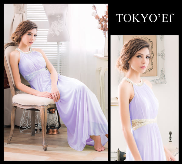 東京衣服 月光派對 典雅削肩 璀璨碎鑽女神風高雅設計細褶長禮服 粉紫