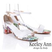 ★2019春夏★Keeley Ann夏日花卉 全真皮中粗跟後扣帶涼鞋(白色) -Ann系列