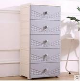 抽屜式收納櫃子多層儲物櫃簡易塑料衣櫃【尚雅北歐灰黃五層】需組裝