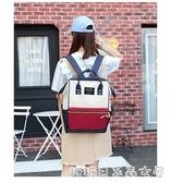 韓版學院風大容量帆布雙肩包女休閒百搭學生書包小清新旅行手提包 糖糖日繫森女屋