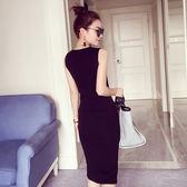 套頭中長款針織無袖a 字連身裙高腰顯瘦開叉背心裙123 FZ2F B2038 依佳衣