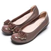 DIANA 舒適甜美-質感光澤鑽飾蝴蝶結娃娃鞋-可可★特價商品恕不能換貨★