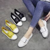 春季樂福鞋女鞋厚底休閒鞋韓版小白鞋平底單鞋皮面魔術貼懶人女鞋LVV5908