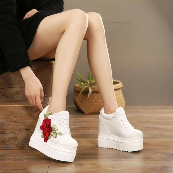 刺繡玫瑰花帆布鞋子女內增高2020春秋超高跟厚底低筒繫帶鬆糕鞋潮「時尚彩紅屋」