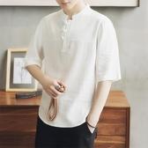 古風上衣 亞麻t恤男短袖夏季寬鬆中國風男裝中式麻料盤扣上衣大碼半袖體恤