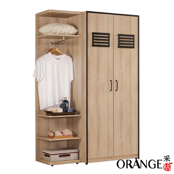 【采桔家居】巴德斯 現代4.2尺開門三吊衣櫃/收納櫃組合(開門衣櫃+側邊櫃)