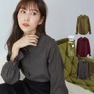 襯衫 荷葉縮袖排釦翻領斜紋絨質料上衣-BAi白媽媽【302128】