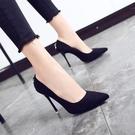 春新款黑色高跟鞋女細跟尖頭鞋韓版單鞋百搭...