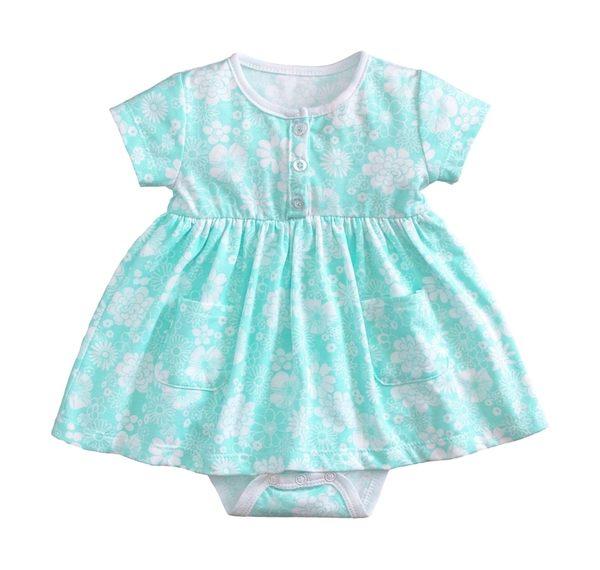 童裝 現貨 小女生純棉花樣款連身裙-綠底前開扣【54052-3】