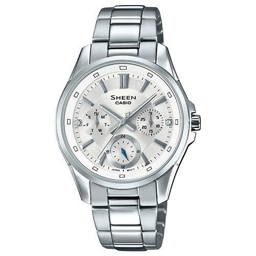 【台南 時代鐘錶 CASIO】SHEEN 宏崑公司貨 SHE-3060D-7A 水晶元素三眼日期時尚腕錶