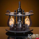 歐式紅酒架實木酒架時尚酒瓶架木制圓鼎酒架子結婚家居擺件一次元