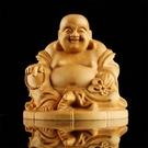 東陽樂清黃楊木雕刻彌勒佛像汽車擺件 紅木工藝品文玩車飾手把件