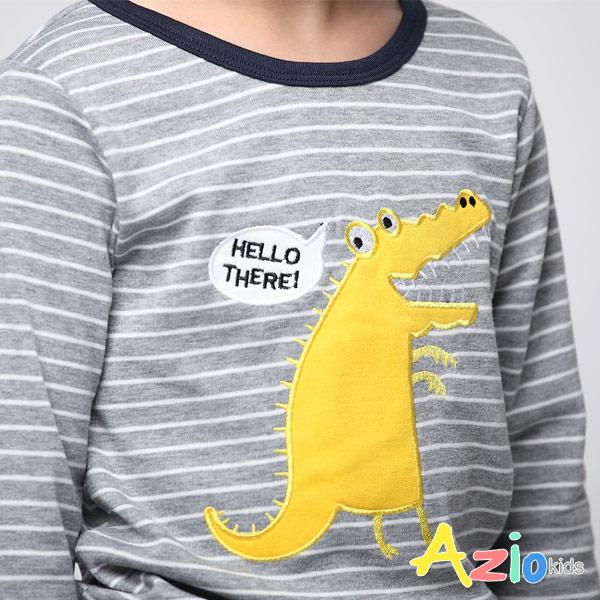 Azio男童 上衣 哈囉黃色鱷魚條紋長袖上衣 (灰) Azio Kids 美國派 童裝